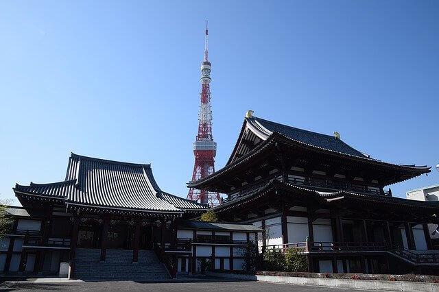 東京タワーと寺